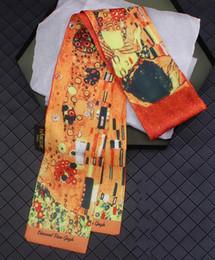 $enCountryForm.capitalKeyWord Australia - 2pcs 120cm*9cm new product lengthening widened van Gogh oil painting kiss Twill silk scarf floating towel small ribbon belt scarf