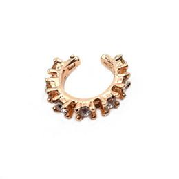 Septum Nose Australia - 1pc Crystal Fake Septum Clicker Ring Hanger Clip On Non Piercing Zircon Nose Ring Hoop Fake Nose Piercing Body Jewelry