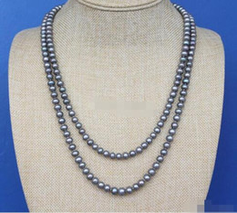 peacock chain necklace Australia - Fine pearls jewelry 48 Inch Long 7-8mm Grey Peacock Nearly round Pearl Rope Necklace Sweater chain