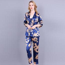 $enCountryForm.capitalKeyWord Australia - 3 Piece Printing Dragon Pajama Set Silk Night Wear Pijama Suit Bathrobe Women Lingerie Pyjama Bride Robe Satin Kimono Robe Femme