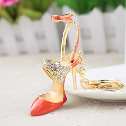 rose gold pendants for women Australia - Women Crystal High Heeled Rhinestone Keychain Purse Pendant Bags Cars Shoe Ring Holder Chains Key Rings For Women GiftsSH190724