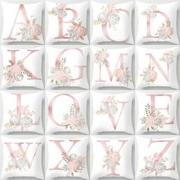 Valentine Pillows Gift Canada - 26 Letters Pillow Case flower Cushion pillow Cover Pillowslip Bedding decor valentines gift Sofa Home car Decor 44*44cm FFA1578