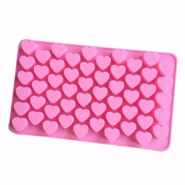 55 heart silicone mold UK - Kitchen Baking Tools 55 Holes Cute Heart Style Silicone Chocolate Mold Ice Candy Lolly Muffin Mould Valentine Gift Maker wh0714