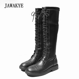 booties for women UK - Newest Black Leather Knee High Boots For Women Round Toe Lace Up Knight Boots Lady Runway Booties