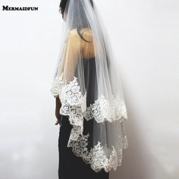 $enCountryForm.capitalKeyWord NZ - 2019 New Two Layers Sequins Lace Edge Short Wedding Veil With Comb 2 Layers 0.9 Meter Tulle Bridal Veil For Wedding Dress C19041101