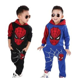 new baby boy autumn tracksuit Australia - New Baby Boys Spring Autumn Spiderman Sports suit 2 pieces set Tracksuits Kids Clothing sets 100-150cm Casual clothes Coat+Pant