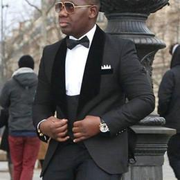 $enCountryForm.capitalKeyWord NZ - Black Shawl Lapel Men Suits Wedding Suits Custom Groom Tuxedo Blazer Jacket 3Piece Vest Pants Slim Fit Formal Best Man Costume Evening Party