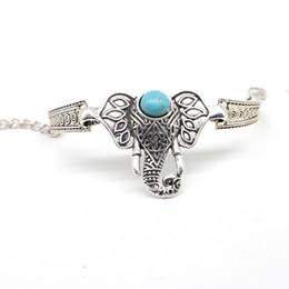 $enCountryForm.capitalKeyWord UK - Vintage bohemian carved bracelet ethnic wind turquoise long nose elephant ornament