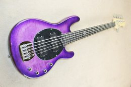 $enCountryForm.capitalKeyWord Canada - 5-string purple electric bass guitar with active circuit, ebony fingerboard, maple leaf cloud, providing high quality personalized customiza