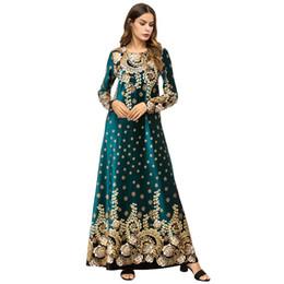 Spring Women Velvet UK - WSYORE Spring Velvet Muslim Robe Women Plus Size 2019 New Casual Long-sleeve Printed Maxi Dress Female Long Dresses NS906
