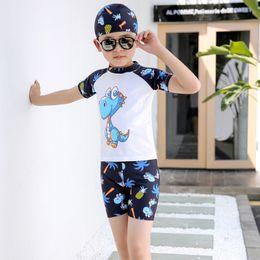 $enCountryForm.capitalKeyWord Australia - 3 Pieces Kids Swimwear Set Boys Swimming Suit Cute Dinosaur Print Short Sleeve Beach wear Swimming Trunk for Children SwimSuit