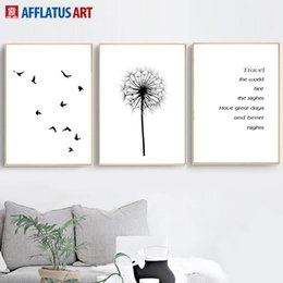 Discount dandelion canvas art - Bird Quotes Dandelion Landscape Nordic Posters And Prints Wall Art Canvas Painting Wall Pictures For Living Room Bedroom