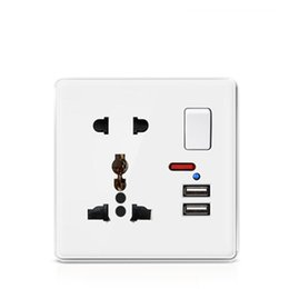 usb wall panel Australia - Plastic panel 5 pin Universal wall socket and double USB socket with plastic push button