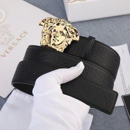 tiger head belt NZ - Black mysterious cat king snake print wolf angry cat tiger bee head with box gold buckle Mens Belt Authentic Official Belt With Box