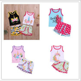 Girls Tassel Shirt Australia - Kids Designer Clothes Girls Unicorn Outfits Tops Pants Suits INS Baby Shirts Tassel Shorts Clothing Sets Infant Summer Petal Outfits LT130