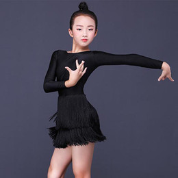 Girls Ice Dress NZ - Latin Dance Dress Kids Black Ice Silk Long Sleeve Fringe Skirt Girls Practice Performance Dancewear Child Tango Salsa DN3084