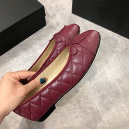$enCountryForm.capitalKeyWord NZ - 2019 designer new luxury ladies retro fashion casual flat low cut bow sheepskin ballet shoes 35 yards to 40 yards red