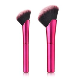Professional Liquid Foundation Set Australia - Oblique Head Makeup Brushes Set Powder Blush Liquid Foundation Face Make Up Brush Kit Professional Cosmetics Tools 2pc set RRA602