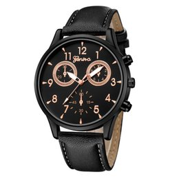 Discount geneva men business watch - fashion men big dial black simple 3 eyes design geneva business leather watch new wholesale mens male sport casual quart