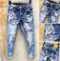 $enCountryForm.capitalKeyWord Australia - hot designer D2 jeans men Brand Fashion brand mens clothing Washed Hole Riding jeans d2 luxury Micro-bomb Slim pants man cowboy Loose pants