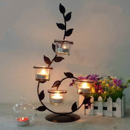 $enCountryForm.capitalKeyWord Australia - Retro Candlelight Dinner Wrought Iron Candle Holders Household Candlestick Article Candlelight Glass Holders Dinner Decorations Y19061901