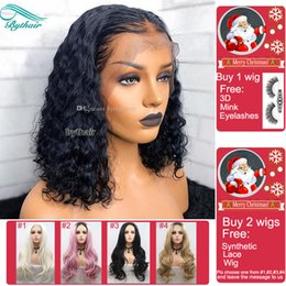 Chinese bob wigs for blaCk women online shopping - Bythair Brazilian Pre Plucked Short Bob Wavy Full Lace Human Hair Wigs With Baby Hairs Lace Front Wig For Black Women