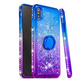$enCountryForm.capitalKeyWord NZ - Love Heart Sequins Glitter Phone Case For iphone XS MAX XR 8 7 plus Liquid Quicksand Case Cover for iPod Touch 6 5 with finger ring holder
