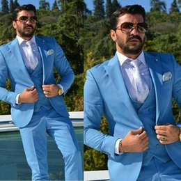 pink tuxedo costume Australia - Costume Homme Blue Men Suits New Style Groomsmen Lapel Groom Tuxedos Wedding Best Man 3 Pieces( Jacket+Pants+Tie+Vest)