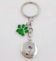 anchor handbags Australia - Enamel Dog Cat Paw Prints 18mm Snaps Button Keychain Charm Key Chain For Keys Car Key Ring Souvenir Couple Handbag Key Chain