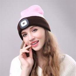 lighted hats NZ - Flashlight Lighting Hat LED Button Battery Light Knit Hat Lightweight Practical Warm Safety Beanie Skull Caps