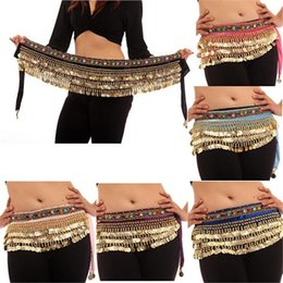 pink belly dancing costumes NZ - Women Belly Dance 2018 Dance Hip Scarf Wrap Bellydance Coin Belt Velvet Tribal Costume Danza Del Vientre Belly Gypsy Wings