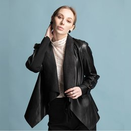 Wholesale new women coat models for sale - Group buy 2019 autumn new women pu jacket coat ins explosion models in Europe and America locomotive no access cooljacket