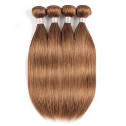 Golden Hairs Australia - #30 Light Golden Brown Straight Human Hair Bundles Brazilian Virgin Hair 3 4 Bundles 16-24 Inch Remy Human Hair Extensions