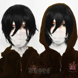 Wholesale angel death for sale – custom Angels of Death Isaac Foster Zack Short Black Cosplay Wig