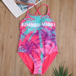 coconut tree swimsuit NZ - New European and American brand children's one-piece swimsuit fashion print coconut tree girls sunscreen swimwear