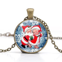 CaboChon Chain online shopping - Christmas Necklace Time Gem Cabochon Necklace Santa Claus Snowman Crystal Necklaces Long Chain Christmas Pendant Jewelry Kids Gift GGA2670
