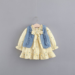 long sleeve baby vests NZ - New Rushed Vestido Infantil Baby Girl Girls Cowboy Vests Long Sleeve Print Dress Spring Bowknot Children's Princess Q190518