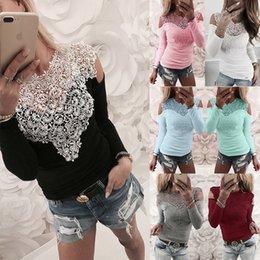 $enCountryForm.capitalKeyWord Australia - S-3xl Lace Splice Long Sleeve T-shirt 2019 Autumn Summer Casual Women T-shirt Hollow Out Sexy Shirt Off Shoulder Women Tops