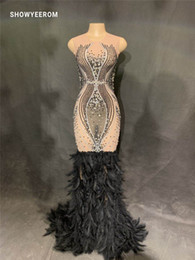 Discount black rhinestone feather dress - women Sexy See Through Mesh Rhinestones Dress Evening Party Birthday Celebrate Feather Dress Singer Costume Long Net Yar