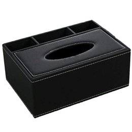China Leather Tissue Box Remote Control Holder Multifunctional Desktop Organizer Pencil Scissor Container Black cheap remote control box holder suppliers