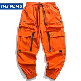 Wholesale baggy pants orange for sale – dress 2020 Spring Cargo Pants Men Fashion Orange Multi Pockets Baggy Tactical Trousers Hip Hop Casual Pant Streetwear WO095