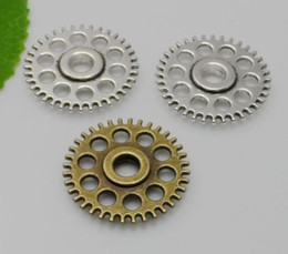 steampunk gears wholesale NZ - 100Pcs Steampunk Machinery Gear Charms Vintage Zinc Alloy Jewelry Charms 26mm