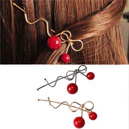 Wholesale Girls Hair Clips Cherry Australia - Sweet Women Girls Hair Clip Barrettes Red Cherry Bow Knot Hairpins Twist Hair Ornaments Accessories Fashion Alloy Headdress
