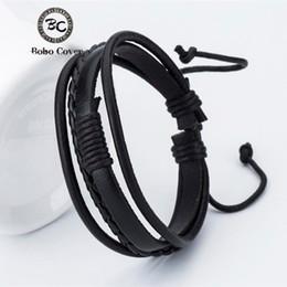 $enCountryForm.capitalKeyWord Australia - new Fashion Leather Women's Men's Charm Bracelets Girls Handmade Weave Charm Bracelets Black Trend Street