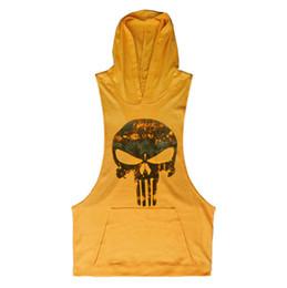 Wholesale summer hoodies for men online – oversize 2020 summer Running Vest Hoodie prints Sleeveless T shirts For Men Sweatshirts Fitness Clothes Bodybuilding Tops