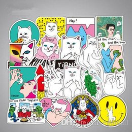 Middle Mirror online shopping - 50pcs set DIY Waterproof Stickers without repetition Middle Finger Cats Doodle stickers For Car Laptop Motorcycle Notebook Car Sticker