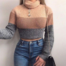 Wholesale cropped sweaters resale online - Turtleneck Sweaters Sexy Navel Bare Cropped Tops Women Autumn Winter Ribbed Jumpers Lady Knitted Pullovers Short Sweaters