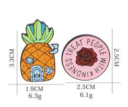 $enCountryForm.capitalKeyWord Australia - Hot sale Pineapple Ananas Brooches - TREAT PEOPLE WITH KINDNESS Flower Brooch Cartoon Enamel Lapel Pin badge For Women Girl Boy Kids