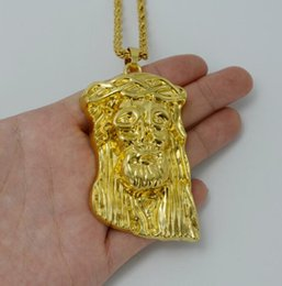 gold jesus face pendant Australia - Hip Hop HIPHOP Gold Christ Jesus Pendant Necklace Stainless Steel Link rolo Chain Heavy Men Jewelry Gift DHL