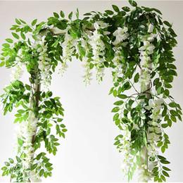 7ft 2m Fleur String Artificial Wisteria Vine Guirlande Plantes Feuillage de plein air Famille Fleur Fleur Fausse Décor Wall Susping en Solde